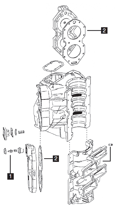 Johnson/Evinrude V4 Looper Powerhead Parts, 120-140 HP