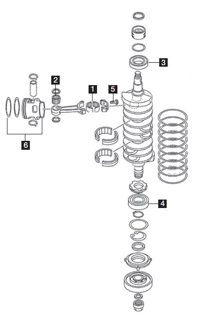 Yamaha 6 Cylinder Powerhead Components, 3.3L HPDI 200-300