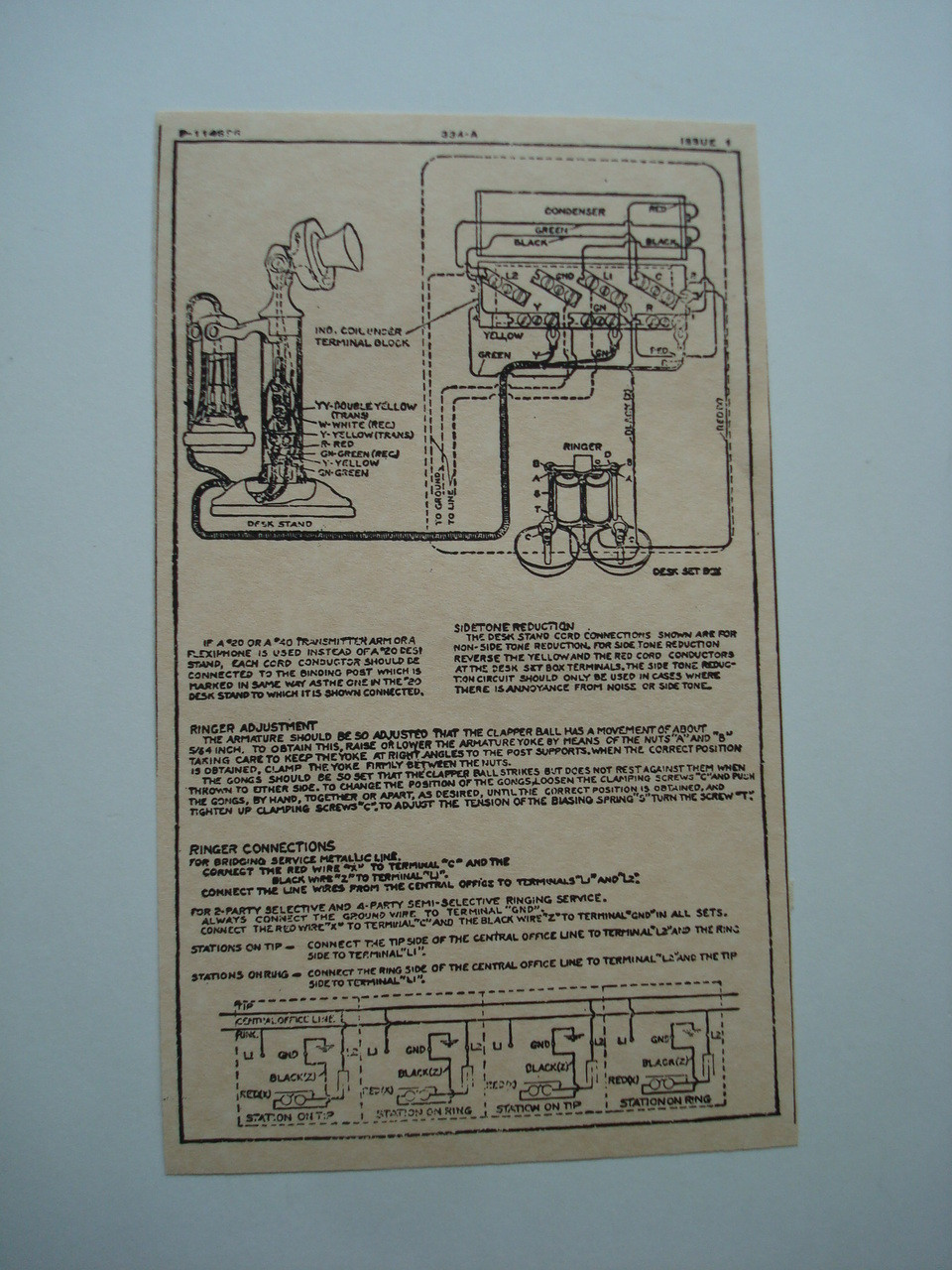 Western Electric 334A ringer subset box wiring diagram glue on | Old Phone Shop