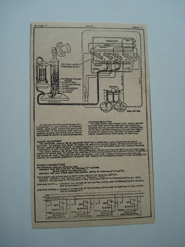 Western Electric 334A ringer subset box wiring diagram glue on | Old Phone Shop