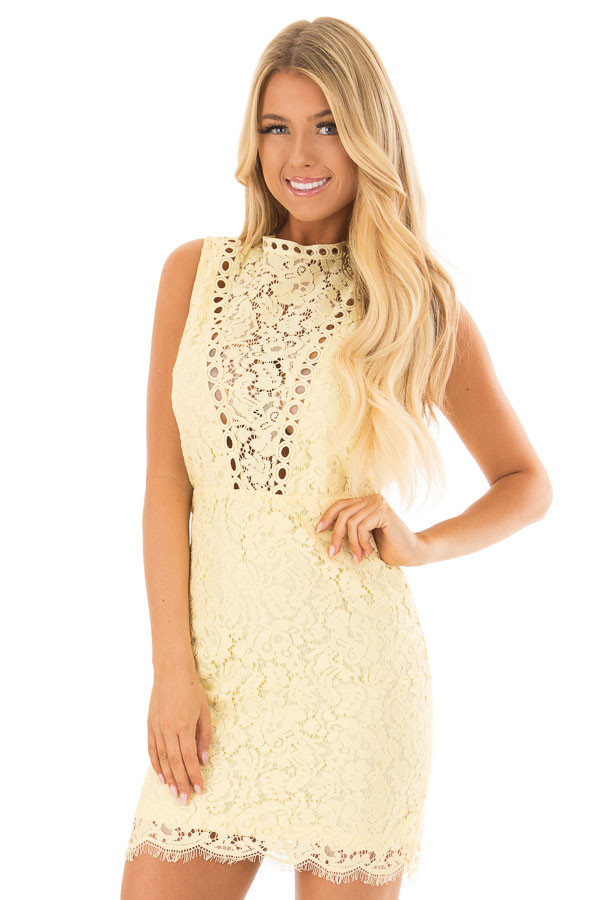 Light Yellow Sleeveless Lace Dress with Sheer Details