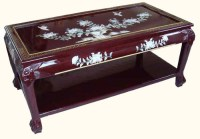 Oriental Coffee Table Red Lacquer Hand Carved Chinese ...