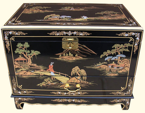 Hand Painted Black Lacquer Oriental Trunk  Oriental