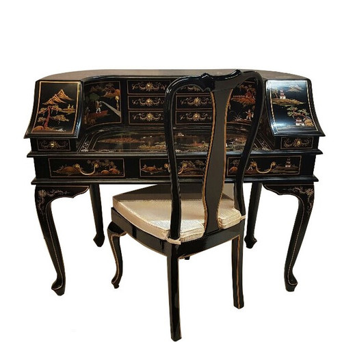 Oriental Desk in Black Lacquer with Artistic Landscape