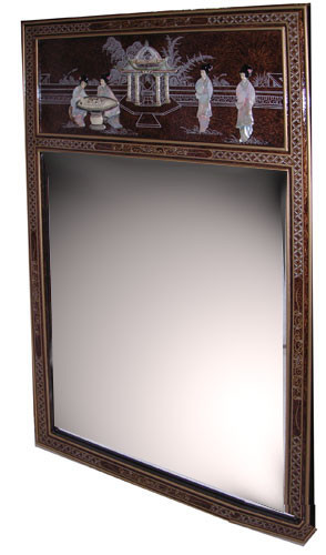 Chinese Mirror Asian Tortoise Shell Mother of Pearl Inlay