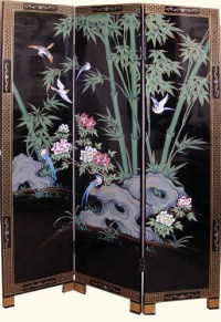 Chinese Folding Floor Screen in Black Lacquer with hand