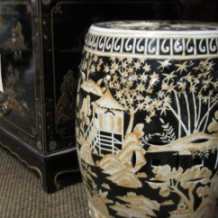 Deals On Living Room Furniture Interior Design Ideas For Indian Style Garden Stool In Black Porcelain With Gold Hand Painted ...