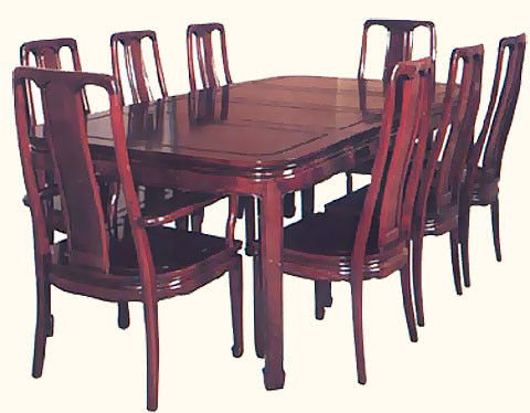 chinese rosewood dining table and chairs leather chaise lounge oriental dinning set carved seats 8 with silk 44 inch round room two leaves 2 18