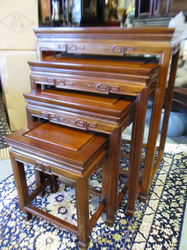 antique white living room tables interior design 2016 oriental nest of in solid rosewood with key carving ...