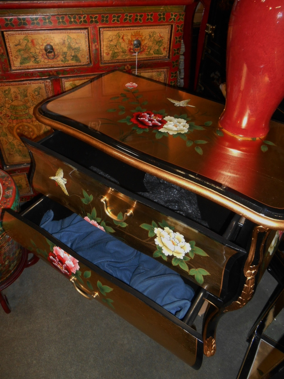 """30"""" Wide Oriental Bombe Chest Of Drawer Hand Painted"""
