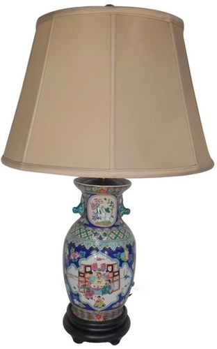 Table Lamp in Chinese Porcelain with Blue Glaze 275H