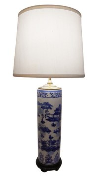 Table Lamp in Chinese Porcelain with Blue and White Paint ...