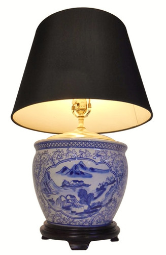 Chinese Lamp in blue and white porcelain with fabric shade