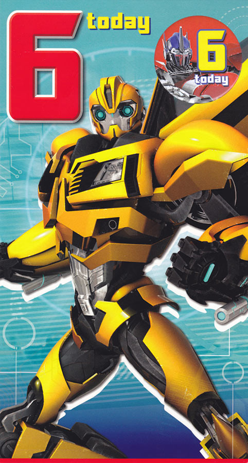 Transformers Age 6 Birthday Card With Badge CardSpark
