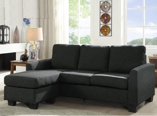 condo grey fabric sectional sofa