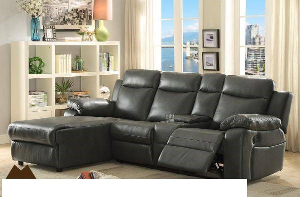 mz 9110 leather sectional sofa with recliner black and dark brown