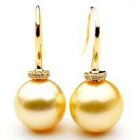 GE086 (AAA 13mm Australian Golden South Sea Pearl Earrings ...