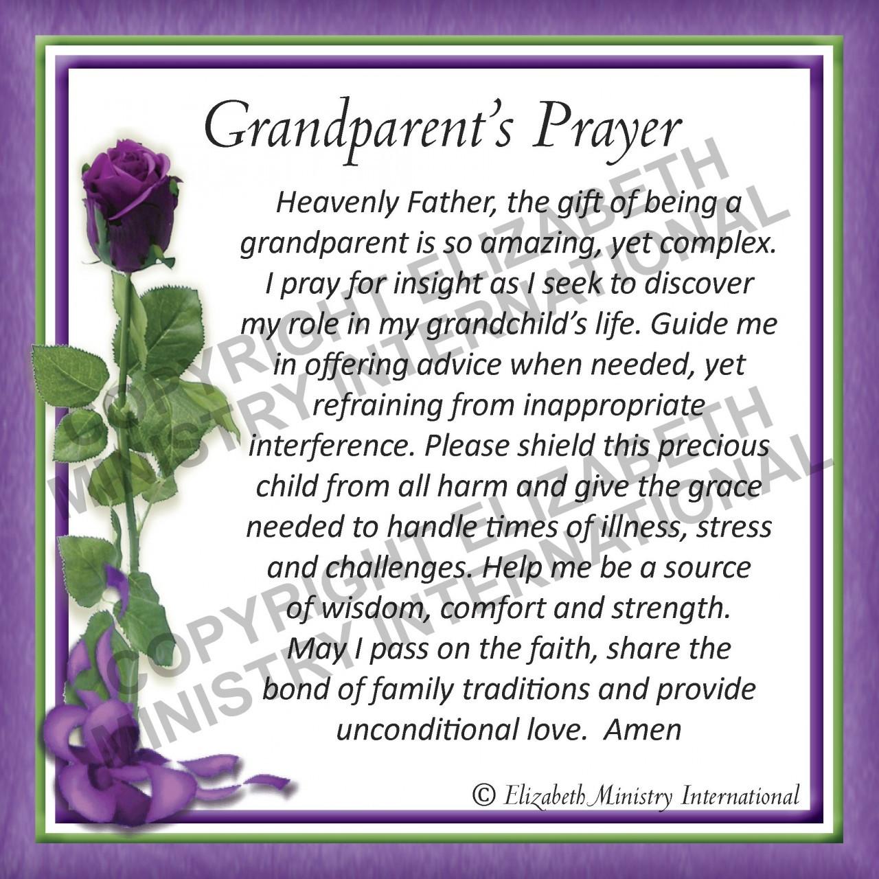 Prayer Card Grandparent ENGLISH Pack Of 24 Elizabeth