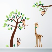 Monkey and Giraffe Jungle Wall Sticker 7001