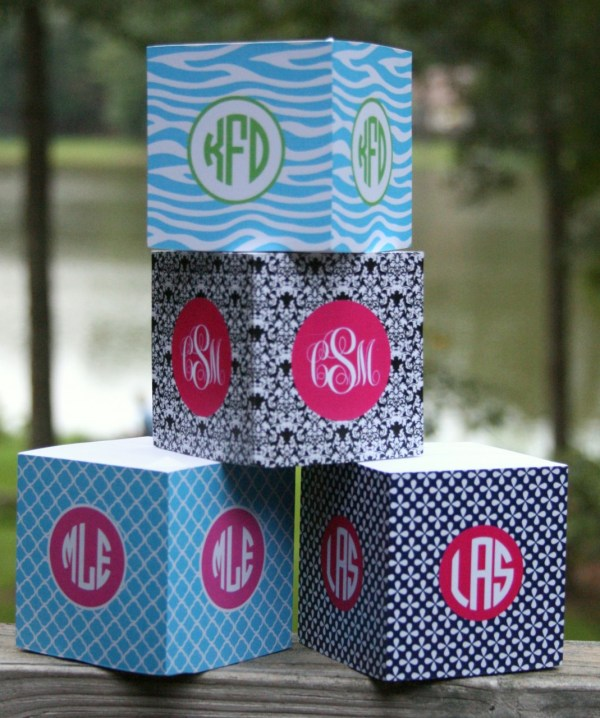 Personalized Sticky Note Cube Post Monogrammed