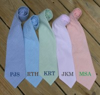 Monogrammed Seersucker Tie TinyTulip.com We're All About