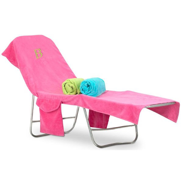 pink beach chair grey upholstered dining chairs uk monogrammed terry cover hover over image to zoom