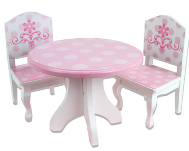 18 doll table and chairs cross back chair pink white hand painted wooden dining set for inch dolls image 1