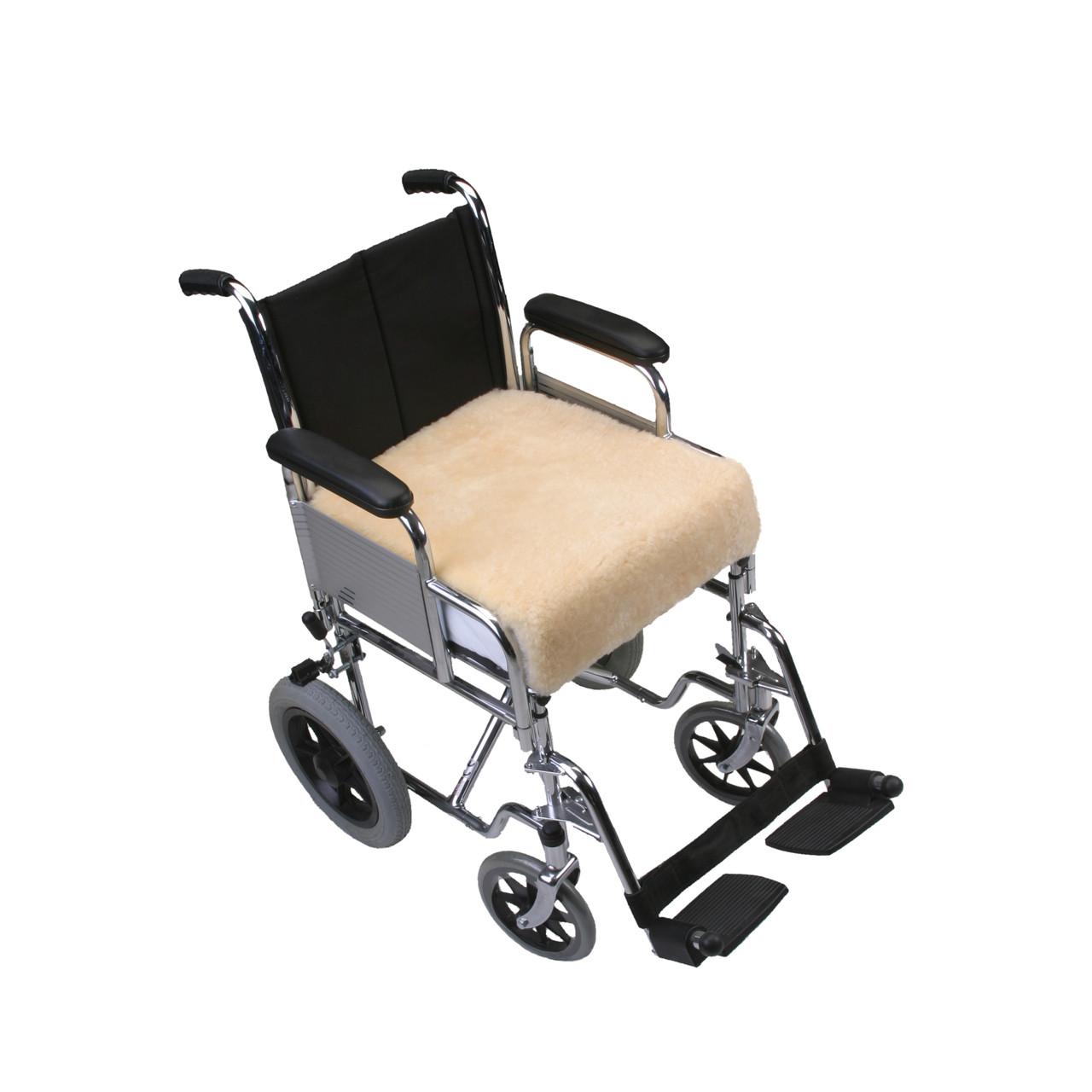 wheelchair gst vinyl strap chaise lounge chairs mi woollies dr wool medical sheepskin padded wheel chair