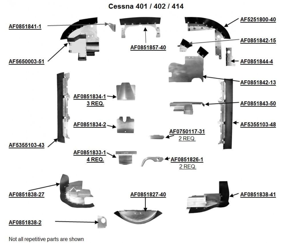 hight resolution of cessna 401 402 and 414 engine baffles cessna 0750117 31 0851826