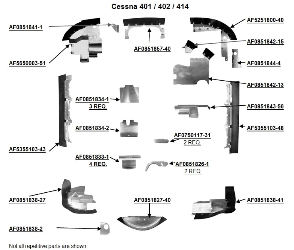 small resolution of cessna 401 402 and 414 engine baffles cessna 0750117 31 0851826