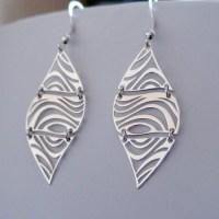 Zebra Print Earrings - Sterling Silver Dangle Earrings