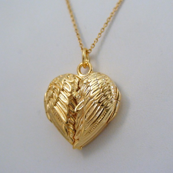Angel Wing Locket Necklace - 14k Gold Plate Sterling Silver
