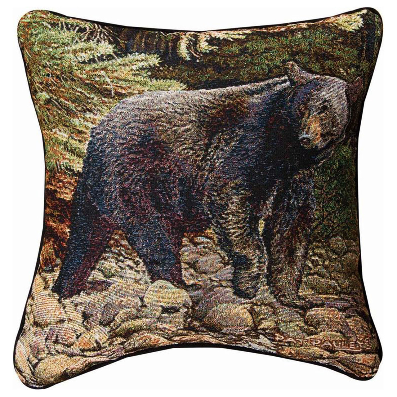 on the prowl black bear tapestry throw pillow 17 square lodge decor
