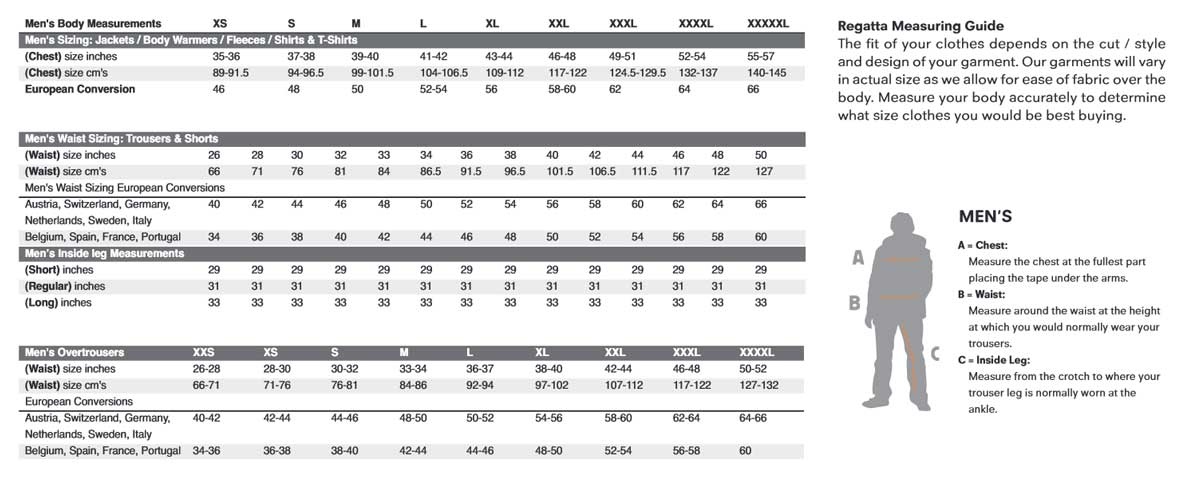 Regatta mens size chart also clothing guide cherry tree country rh cherrytreecountryclothing