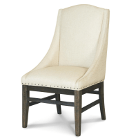 French Oak Nailhead Upholstered Dining Arm Chair | Zin Home