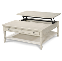Country-Chic White Wood Square Coffee Table with Lift Top ...