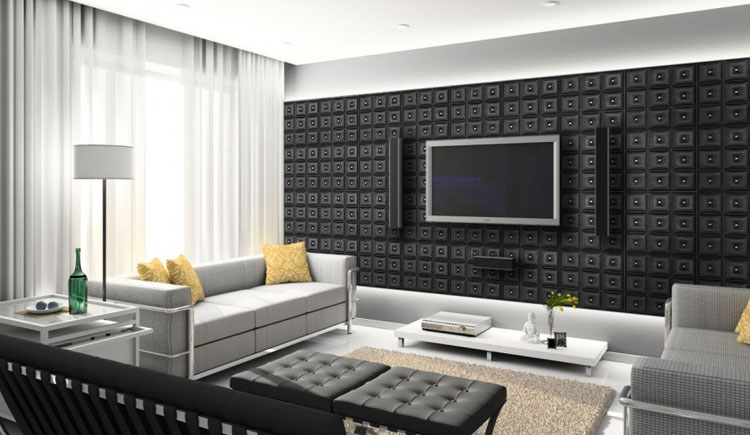 decorative screens for living rooms room chaise metal wall panels tin ceiling tiles faux leather installed behind a flat screen tv