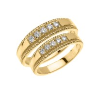 Yellow Gold Elegant His and Hers Diamond Matching Wedding Band