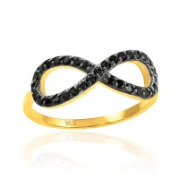 Gold Black Diamond Infinity Ring