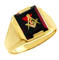 Men's Masonic Red Stone Square and Compass Gold Ring