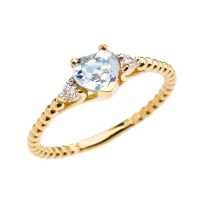 Aquamarine Solitaire Heart And White Topaz Yellow Gold ...