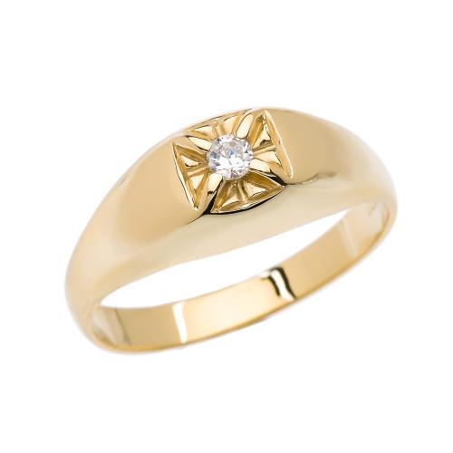 Diamond Yellow Gold Men's Pinky Ring