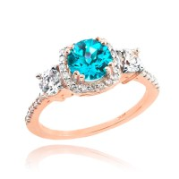 Rose Gold Aquamarine and Diamond Engagement Ring