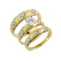 Gold CZ Wedding Ring 3