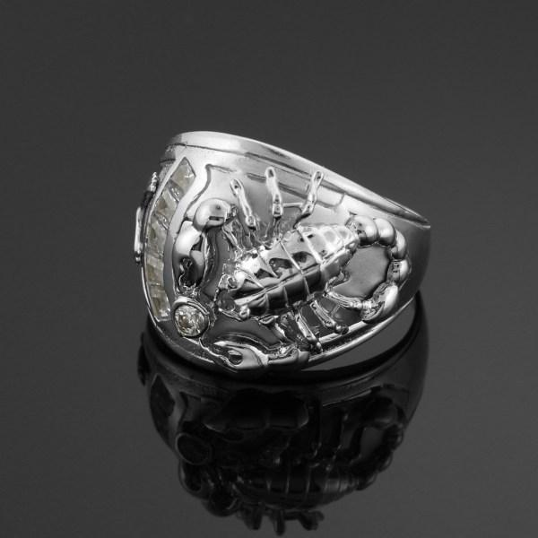 Men' White Gold Stunning Scorpion Scorpio Zodiac Ring