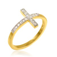 Gold Diamond Sideways Cross Ring