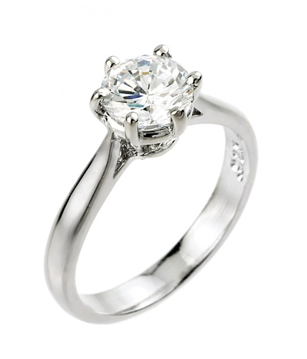 Women' 14k White Gold 1ct 6mm Solitaire Cz Engagement Ring