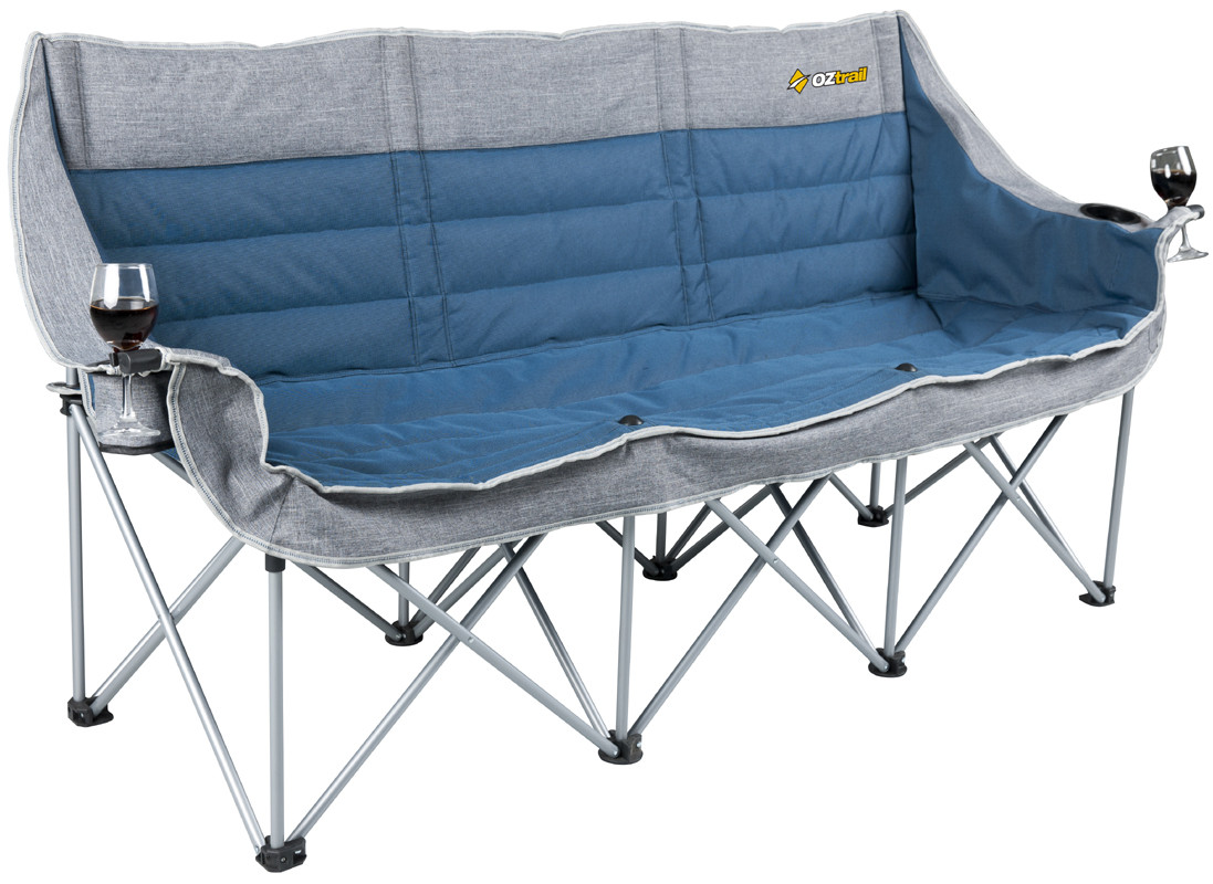 Folding Camp Chair Oztrail 3 Person Galaxy Sofa Moon Chair Arms Picnic Camp Outdoor Seat Portable
