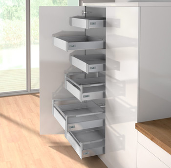 tall kitchen pantry high end faucets reviews 600mm atira larder drawers - clutterfree kitchens