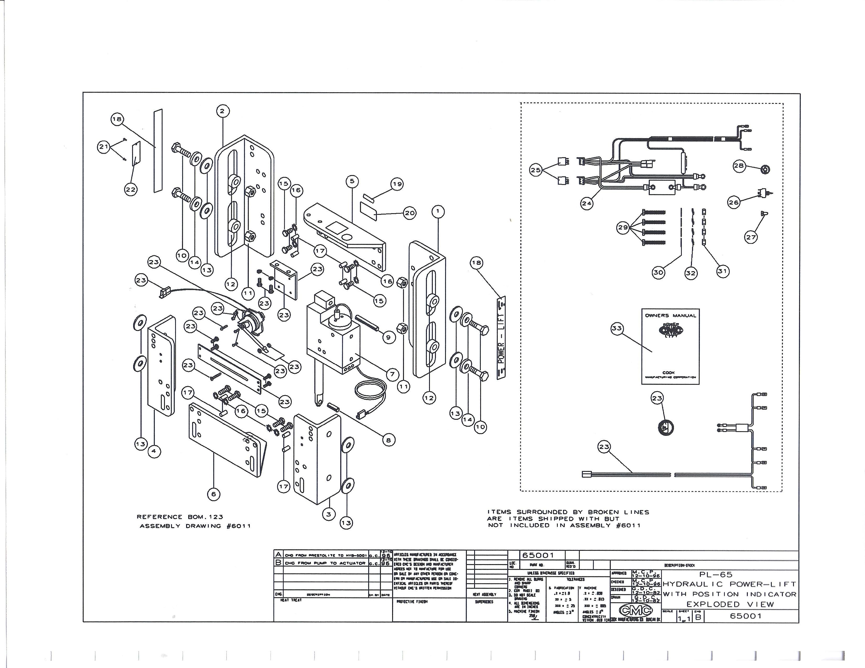 cmc jack plate wiring diagram 5 pin round plug atlas hydraulic harness 10 slide master